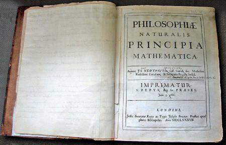Page de titre de la première édition des Principia (1687)