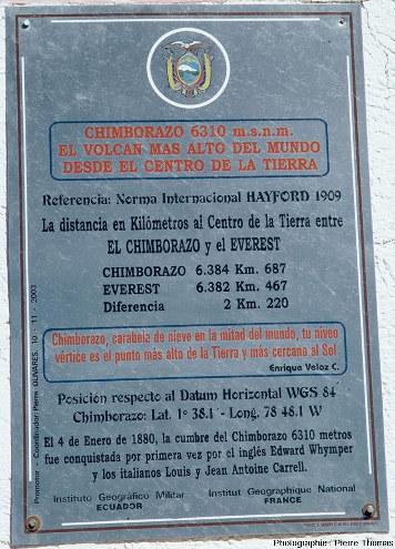 Plaque apposée au pied du Chimborazo (6263m) en Équateur qui indique que son sommet est le point le plus éloigné du centre de la Terre