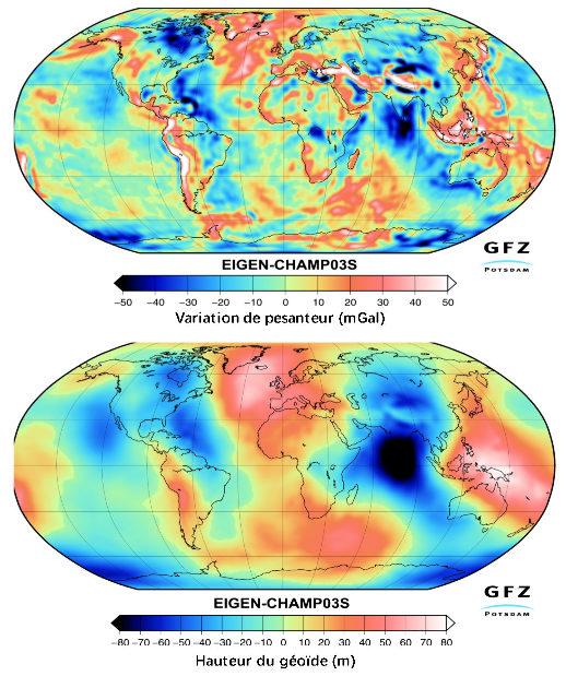 Données de surface: pesanteur à l'altitude 0 et hauteur du géoïde
