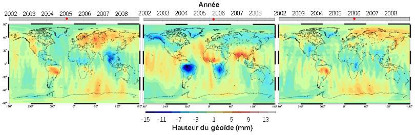 Variations de hauteur du géoïde par rapport à l'ellipsoïde mesurées par GRACE et LAGEOS