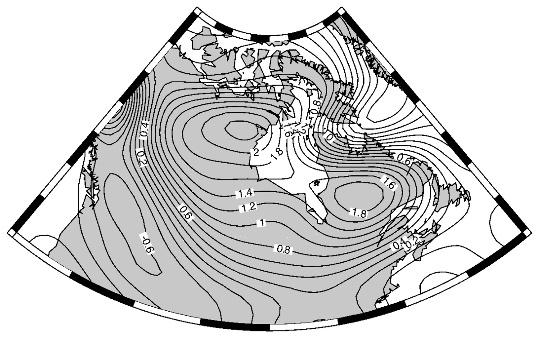 Variation de gravité mesurée par GRACE au niveau de la baie d'Hudson (10−6 Gal par an)