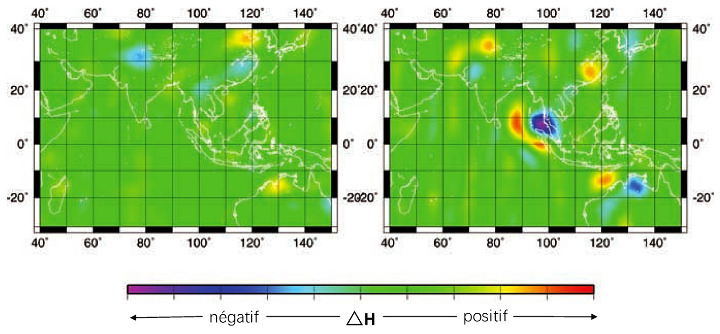 Variations de hauteur du géoïde (∆H) entre deux années consécutives, à une échelle spatiale de l'ordre de 500km, et moyennées sur 9 mois