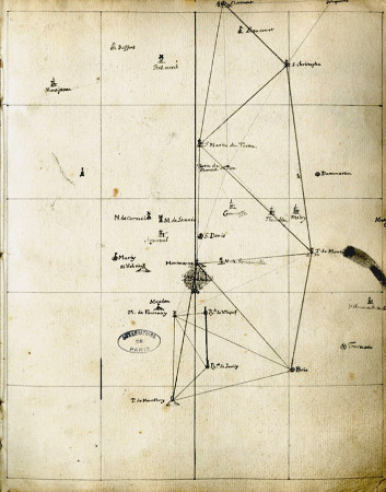 Mesure de distance au XVIIIème siècle, par triangulation