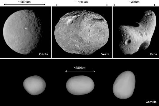 Exemples d'astéroïdes de formes et de tailles variées