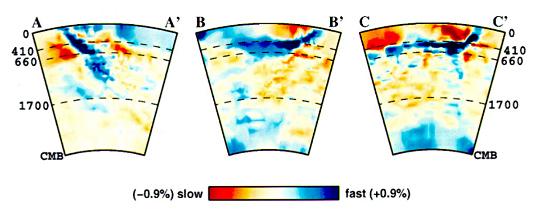 Profils de tomographie sismique (variations relatives de vitesse sismique) réalisés à partir de temps d'arrivée d'ondes P (données de l'ISC)
