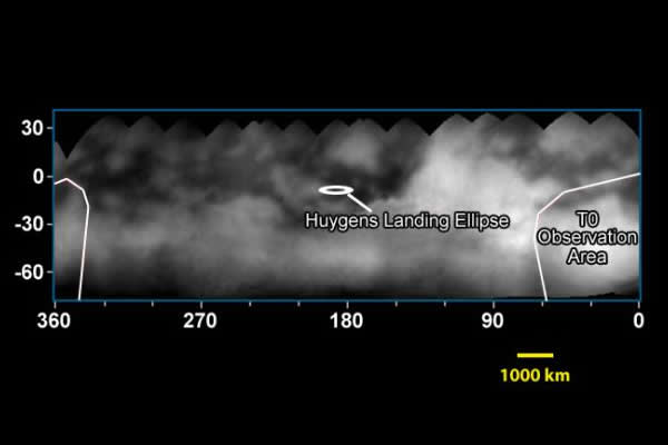 Carte de la réflectivité IR de la zone équatoriale de Titan