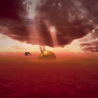 Représentation artistique de Huygens dans l'atmosphère de Titan