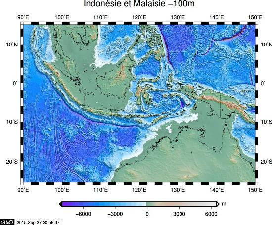 Configuration de l'Asie du Sud-Est et de l'Australie avec un niveau marin de -100m par rapport à l'actuel