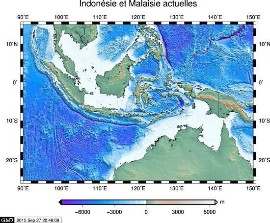 Topographie et bathymétrie actuelles de l'Asie du Sud-Est et du Nord de l'Australie