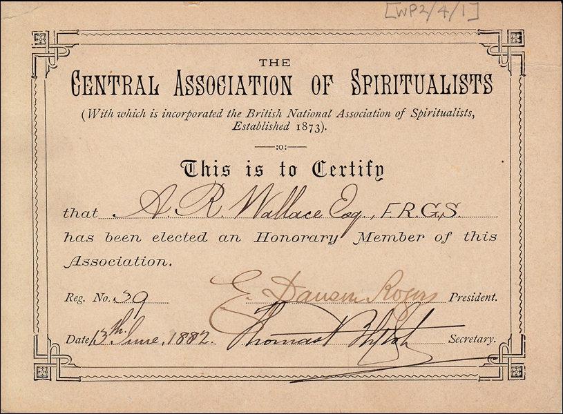 Certificat d'adhésion de Wallace à la Société spirite britannique (Central Association of Spiritualists), daté de 1882