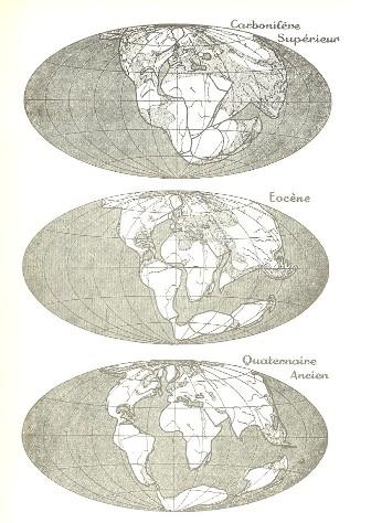 Reconstitutions du globe à trois époques géologiques d'après la théorie des translations continentales