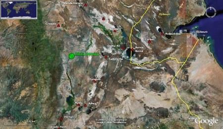 Localisation du site de découverte du fossile de Dikika (pastille verte)