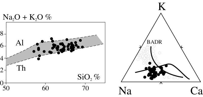 Diagrammes alcalins-silice et K-Na-Ca