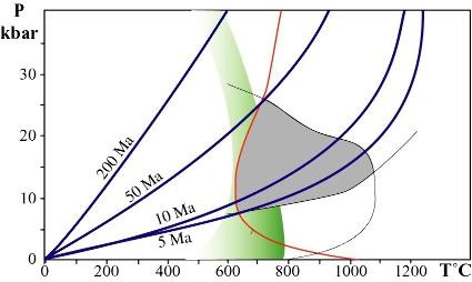 Diagramme P-T analogue à celui de la figure 9, figurant les gradients géothermiques existant dans une subduction en fonction de l'âge de la lithosphère rentrant en subduction