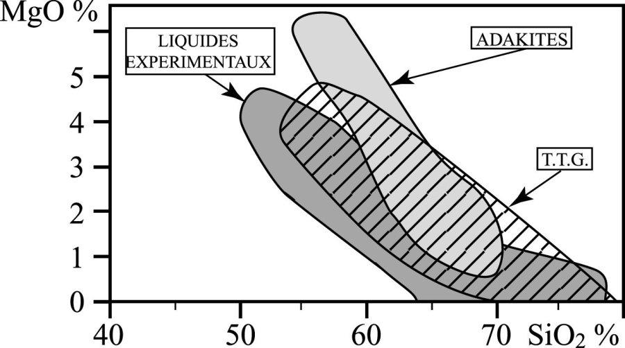 Comparaison des compositions chimiques des TTG (champ hachuré) et des adakites (champ clair)