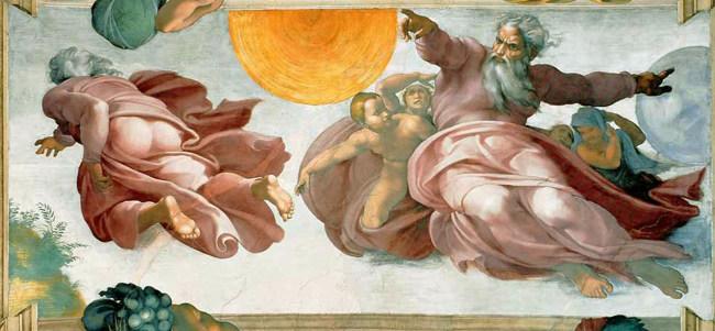 La création du Soleil et de la Lune par Michel-Ange (début du XVIe siècle)