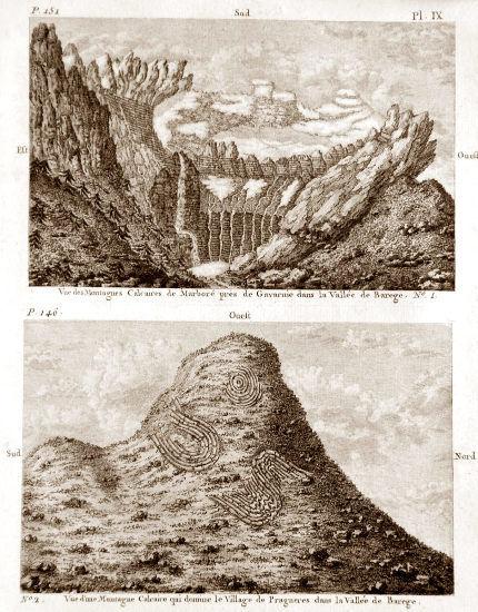 Vallées des Pyrénées, gravure extraite d'un livre du géologue Pierre Bernard Palassou (1745–1830)
