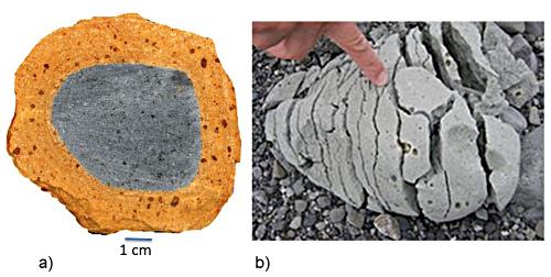 Exemple d'altération chimique d'une bombe volcanique en climat tropical (la pellicule extérieur résulte de la transformation de la roche qui demeure intacte au centre) et d'altération physique par l'alternance gel-dégel (cryoclastie)