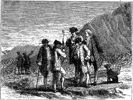 """""""Périer mesurant la hauteur du tube de Toricelli sur le haut du Puy de Dôme"""""""