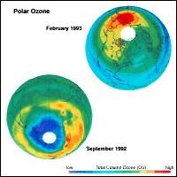 Quantité d'ozone (en DU) au dessus de l'Antarctique en Septembre 1992.