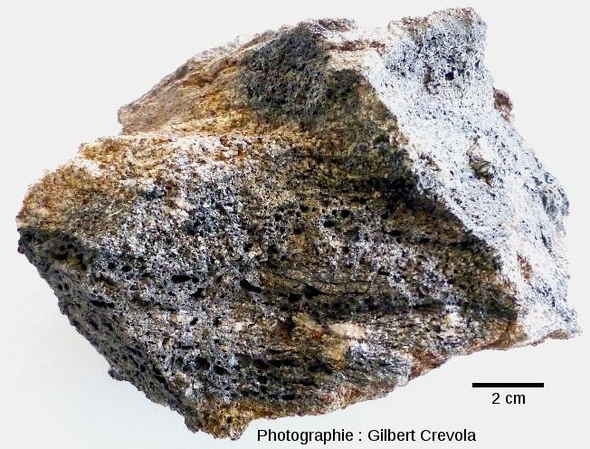 Échantillon de gneiss montrant des lits de verre bulleux disposés parallèlement au litage de la roche
