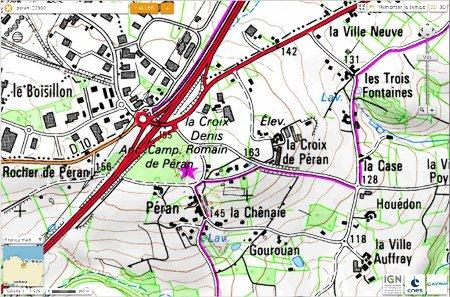 Localisation du camp de Péran sur carte topographique