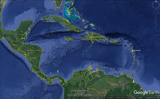 Localisation de l'archipel des Saintes dans les Petites Antilles (punaise jaune)