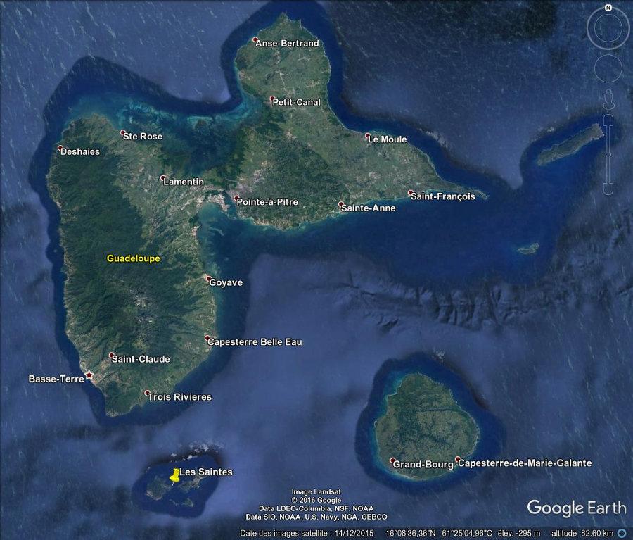 Localisation de l'archipel des Saintes en Guadeloupe (punaise jaune)