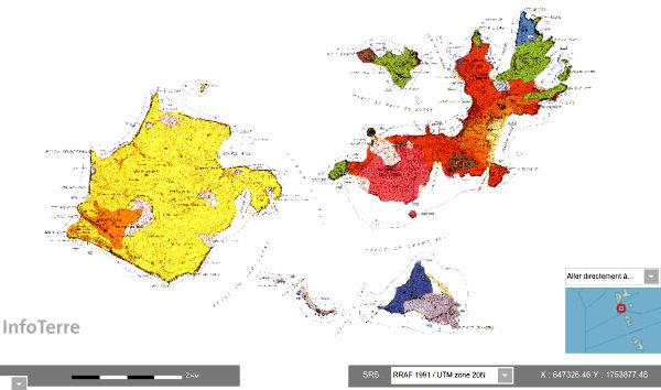 Carte géologique de l'archipel des Saintes en Guadeloupe