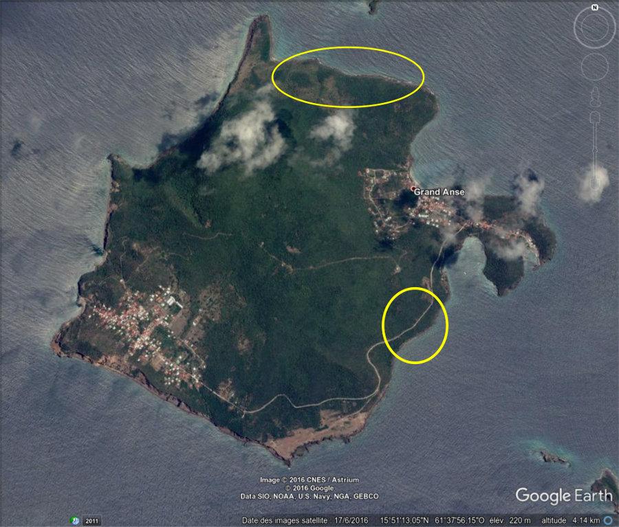 Vue aérienne de Terre-de-Bas des Saintes, Guadeloupe