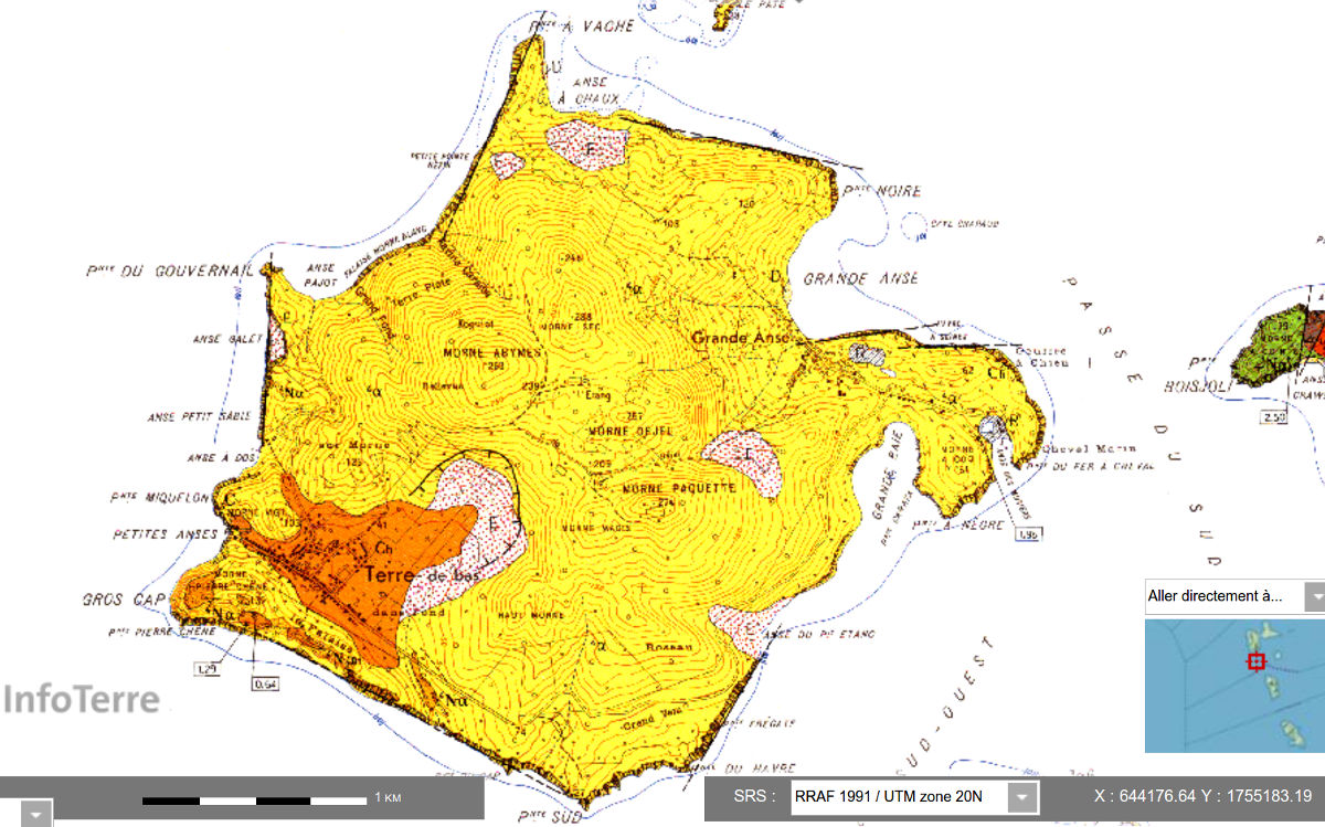 Carte géologique de Terre-de-Bas des Saintes, Guadeloupe