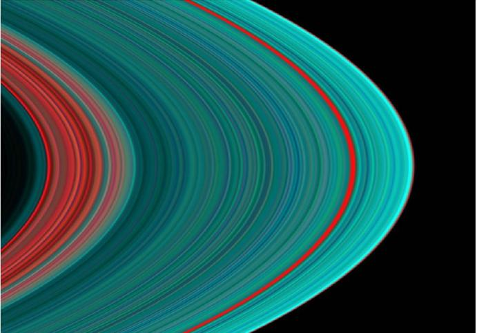 """Image UV de l'anneau A de Saturne montrant la """"pureté"""" de la glace"""
