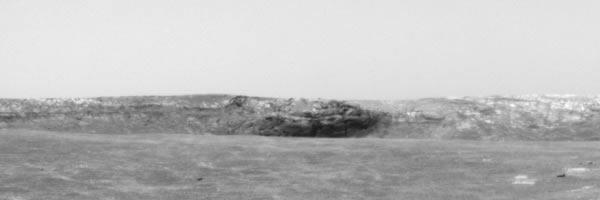 Détail du flanc interne du cratère Endurance vu par Opportunity le 29/04/2004
