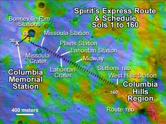 Trajet effectué par Spirit au 30 avril 2004