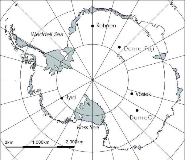 Carte de localisation des forages antarctiques.