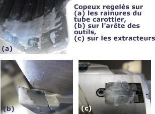 Exemples de copeaux regelés pouvant bloquer le mécanisme.