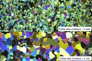 Cristaux de glace de différentes tailles observés en lame mince en lumière polarisée analysée.