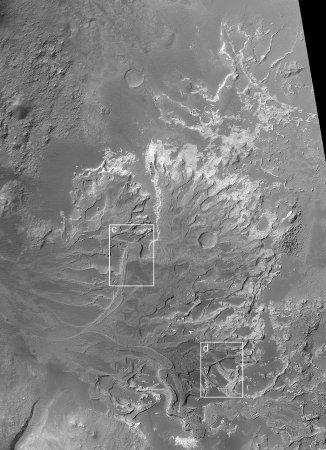 Ancien delta inversé photographié par Mars Global Surveyor en 2003