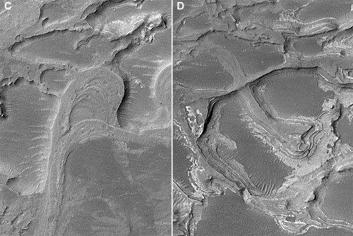 Détails de deux secteurs d'un delta inversé martien