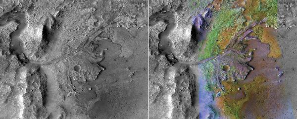 Un ancien delta martien inversé dans le cratère Jezero : images N&B (à gauche) et avec surcharge colorée (à droite) indiquant la minéralogie