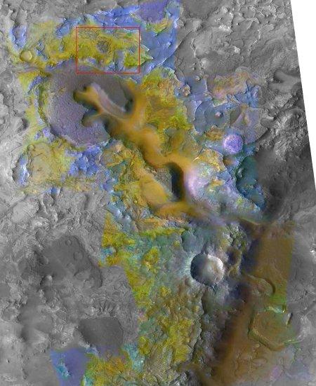 Mars: image d'un secteur de la région de Nili Fossae où ont été superposées des couleurs indiquant la minéralogie superficielle