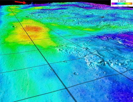 Mars: carte de la teneur en potassium au niveau de la limite entre hauts plateaux et basses plaines, reportée sur un Modèle Numérique de Terrain situé entre les longitudes 70°W et 150°E