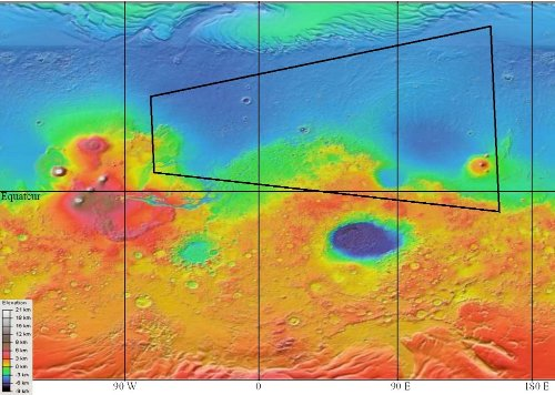 Carte topographique générale de Mars et localisation (approximativement) la carte (vue en perspective) précédente