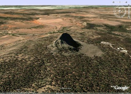 Image Google Earth montrant la Devils Tower (Wyoming, USA)