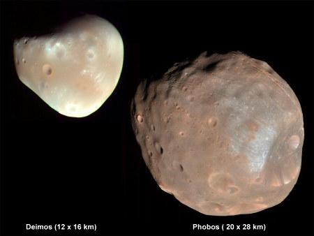 Les deux satellites de Mars, Deimos (photo prise le 21 février 2009) et Phobos (photo prise le 23 mars 2008), vus à la même échelle