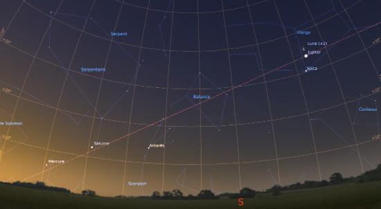 Le ciel du matin en vue grand-angle, le 19 janvier 2017 à 7h30 locale, observé en direction du Sud-Sud-Est