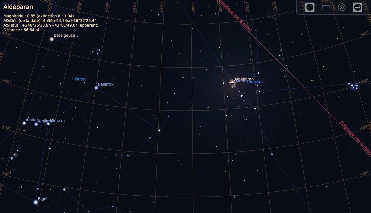 Le ciel du soir du 5 février 2017, vu en direction des constellations d'Orion et du Taureau, où se trouve la Lune, peu avant le début de l'occultation d'Aldébaran
