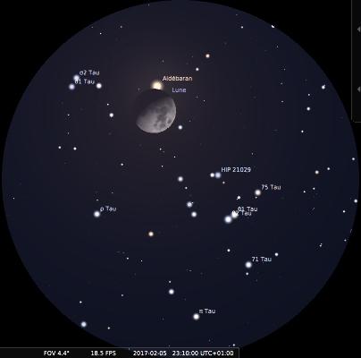La Lune et Aldébaran observées aux jumelles le soir du 5 février 2017 peu avant le début de l'occultation, à 23h10 locale