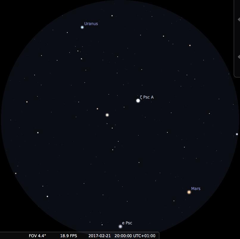 Mars et Uranus vues dans le champ de jumelles 15x, le 21 février 2017 vers 20h