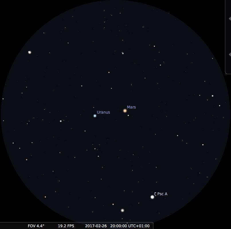 Mars et Uranus vues dans le champ de jumelles 15x, le 26 février 2017 vers 20h